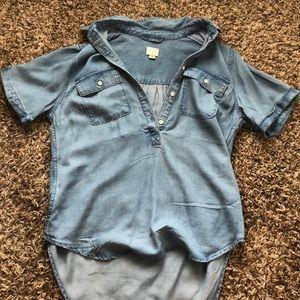 Light Blue Denim Short Sleeve, Half Button up